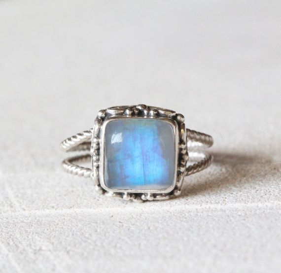 Square Rainbow Moonstone ring