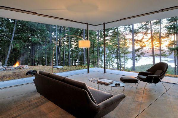 Resultado de imagen para casas en el bosque con grandes ventanas