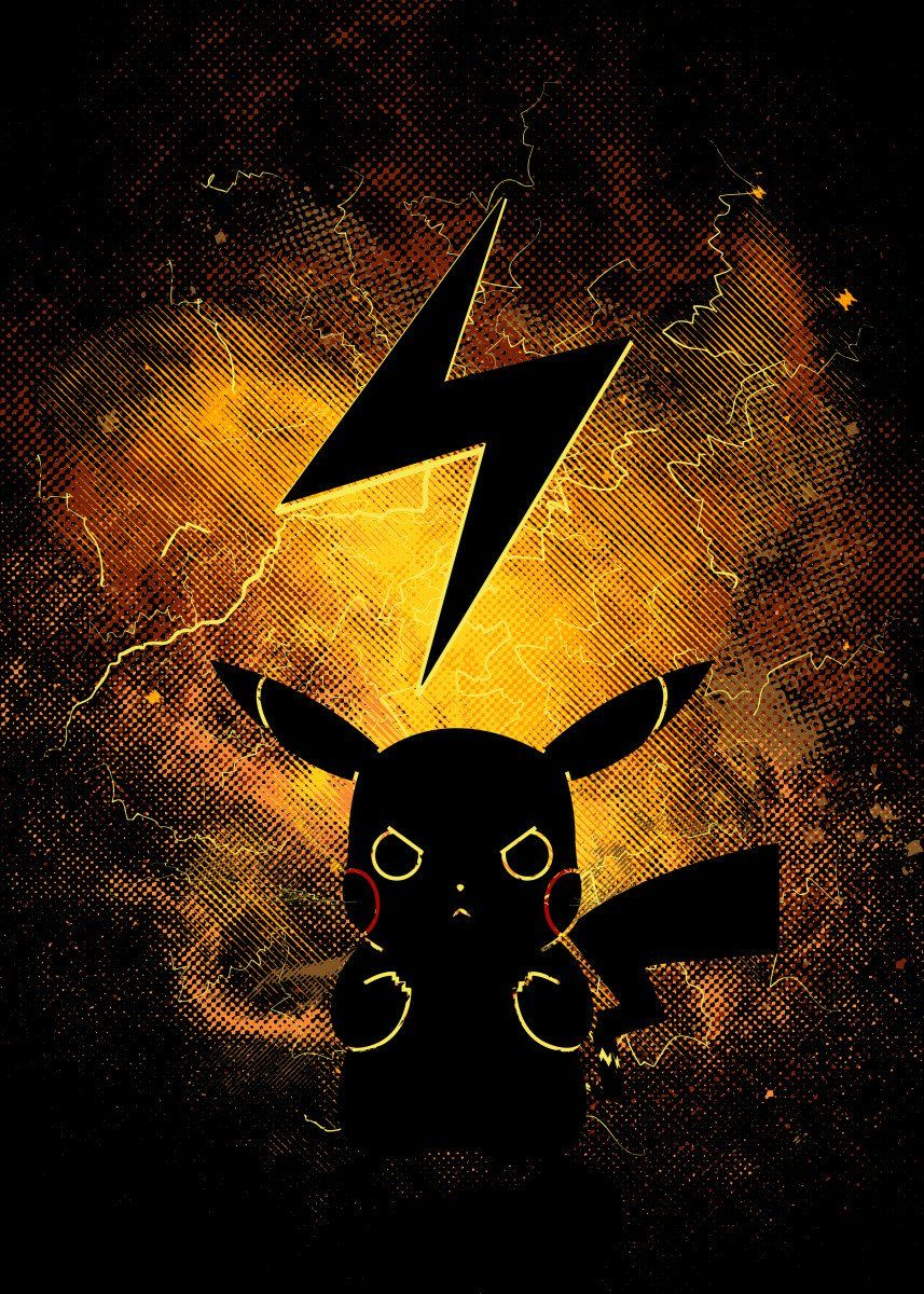 Art By Donnie Metal Posters Displate Pikachu Art Cool Pokemon Wallpapers Pokemon Rayquaza