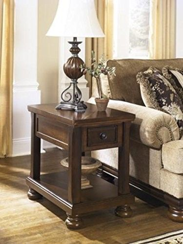 Signature Design by Ashley Porter Chair Side End Table, Rustic Brown