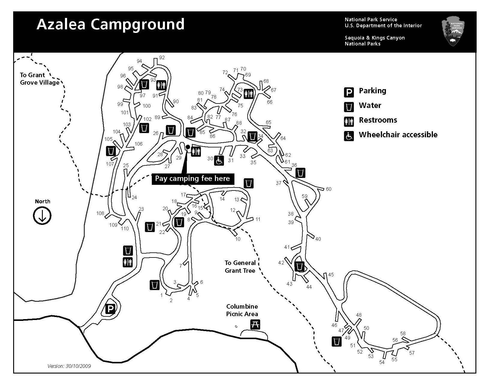 Azalea Campground map, Kings Canyon National Park Kings