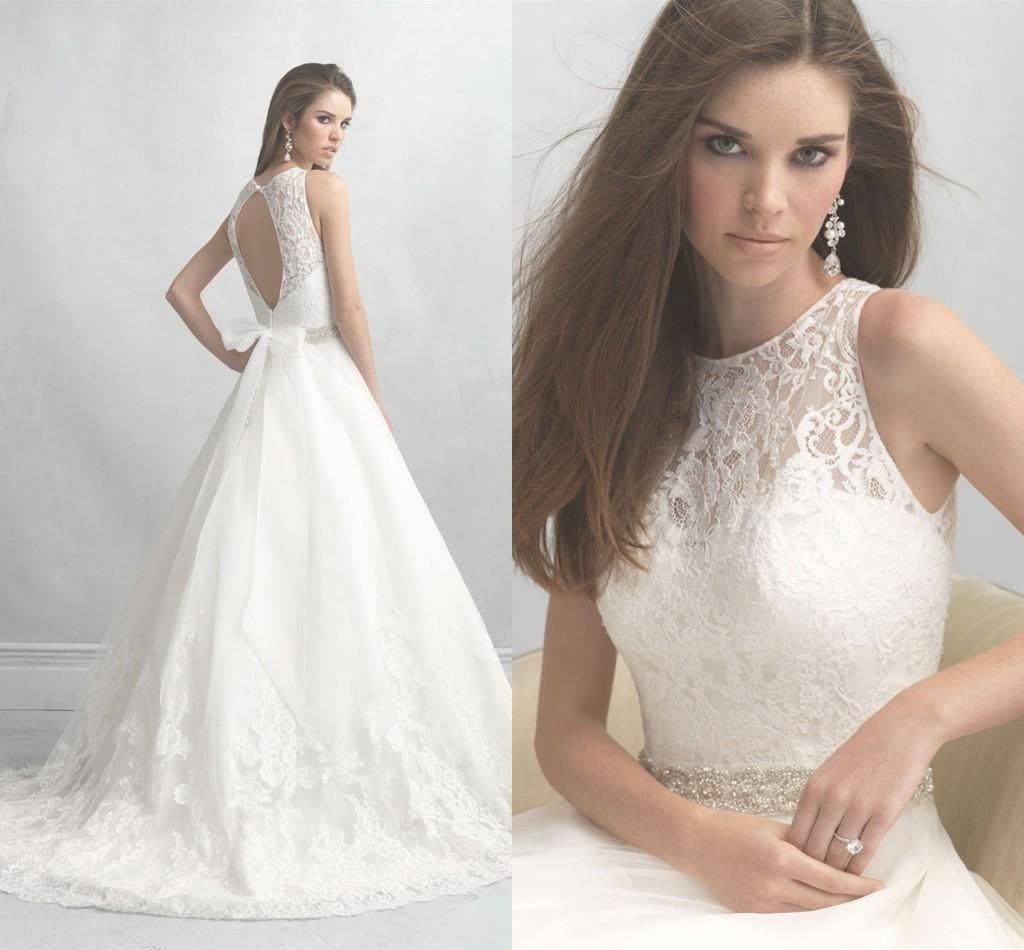 Madison James 2015 Bridal Gowns Ball Gown Appliqued Tulle High Neck Wedding Dresses with Crystals Beaded Sash And Keyhole Back Plus Size from Nicedressonline,$267.02 | DHgate.com