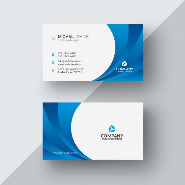 Blue And White Business Card Free Psd File Within Blank Business Card Template Pho Business Card Template Photoshop Create Business Cards White Business Card
