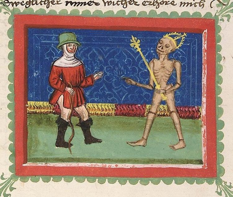 Cod Pal. Gmc 76  John  The Ploughman from Bohemia Stuttgart - Workshop Ludwig Henfflin, 1470 Page: 31v dialogue scene between Ackermann and Death: intercessory prayer of the farmer