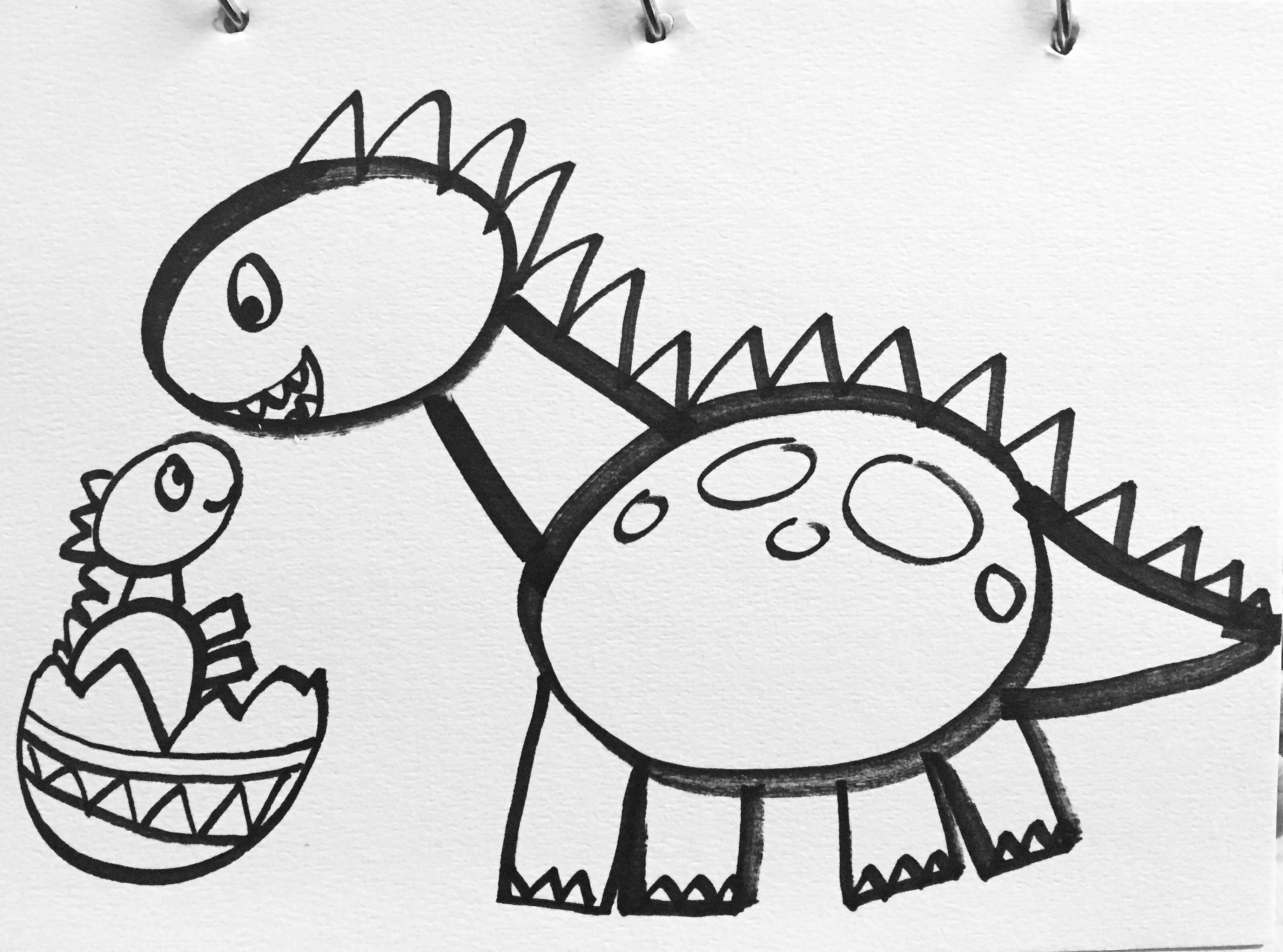 Scribble Drawing Kids : Tutorial how to draw a dinosaur for kids this is