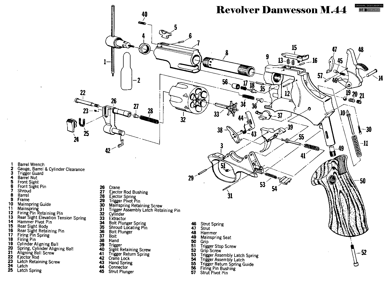 Revolver Danwesson M44 Weapons Firearms Diagrams