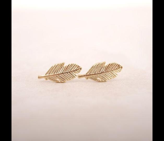 Ohrstecker Gold Feder Blatt Ohrringe Kleine Blatt