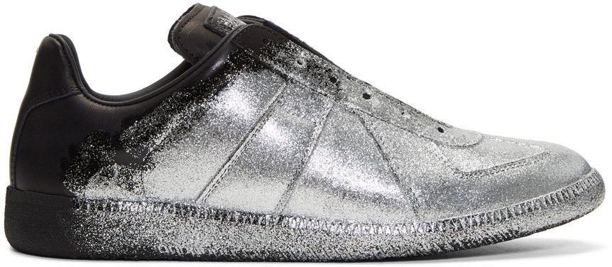 MAISON MARTIN MARGIELA Black & Silver Glitter Application Replica Sneakers. #maisonmartinmargiela #shoes #sneakers