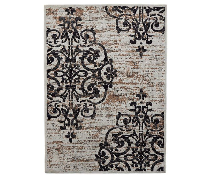 Living Colors Crown Gray Damask Area Rug 6 6 X 9 Accent
