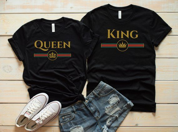 539388468d Couple shirts, King and Queen, Queen shirt, King shirt, Gucci shirt, Matching  shirts, Matching tees,
