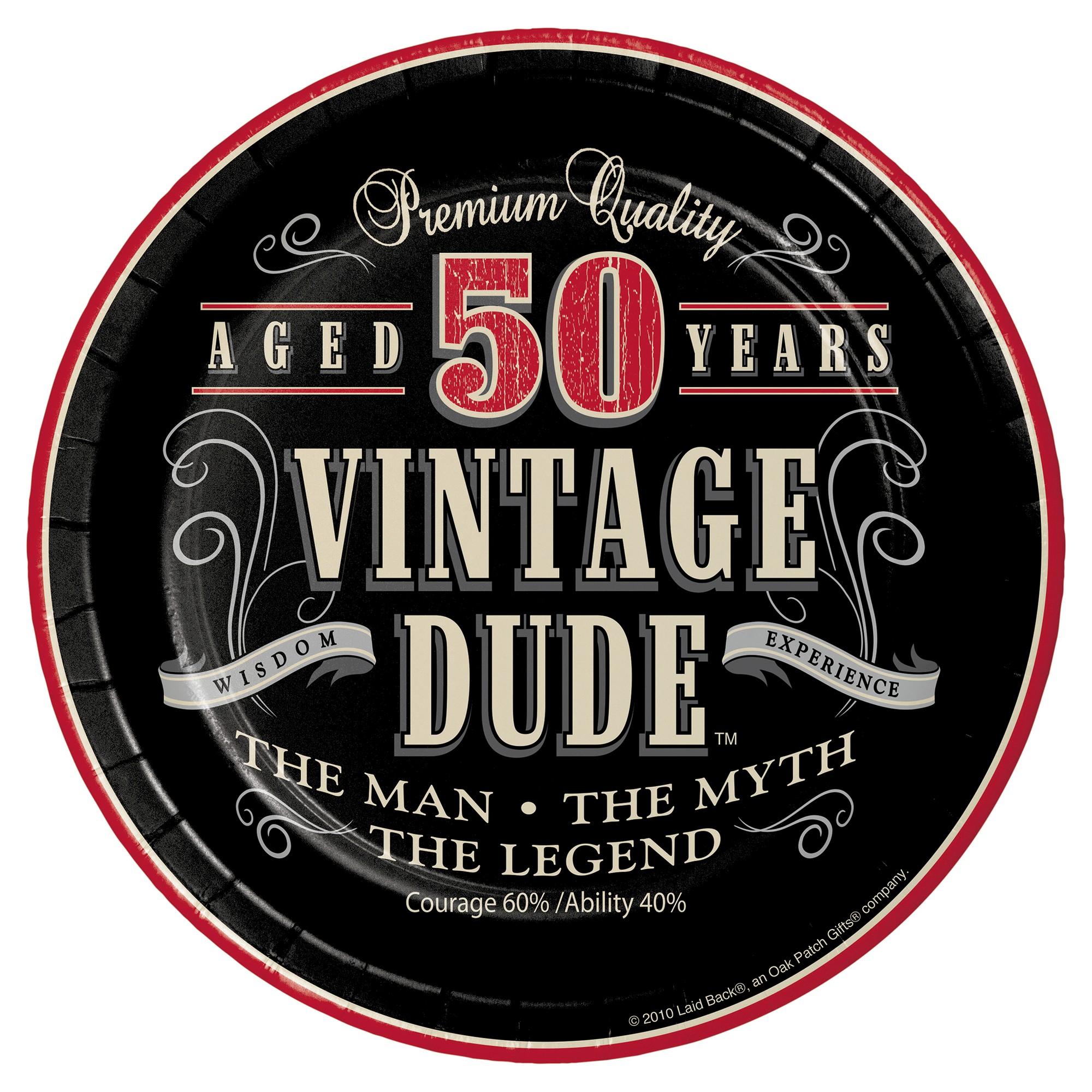 8ct vintage dude 50th birthday dessert plates [ 2000 x 2000 Pixel ]