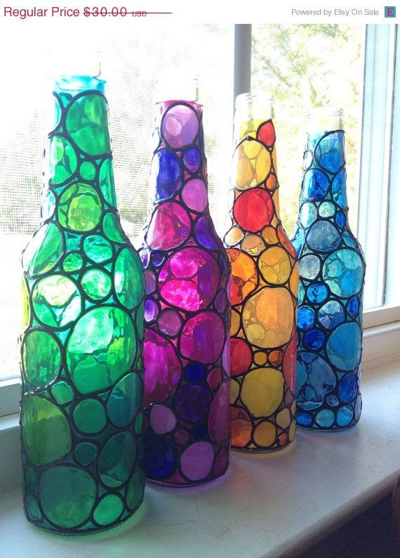 Four Stained Bubbly Glass Bottles Painted Etsy Painted Glass Bottles Glass Bottles Art Bottle Painting
