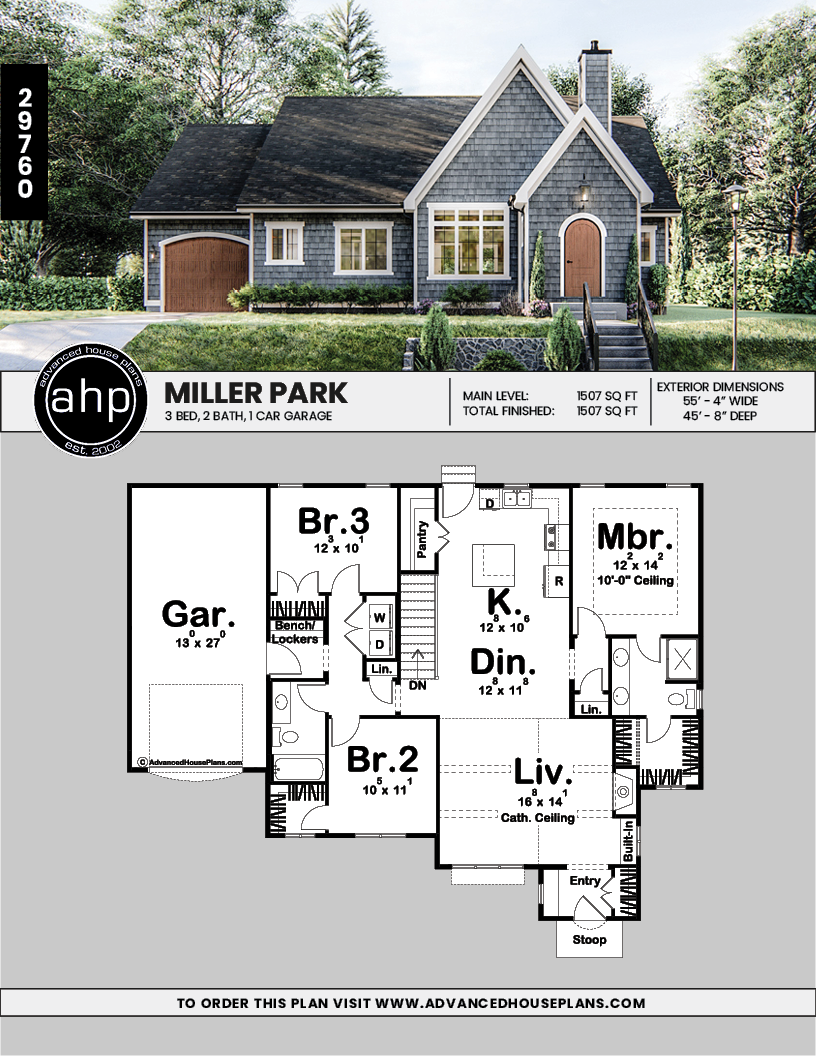1 Story Cottage Style House Plan Miller Park Modern Cottage Style Cottage Style House Plans Cottage Style Homes