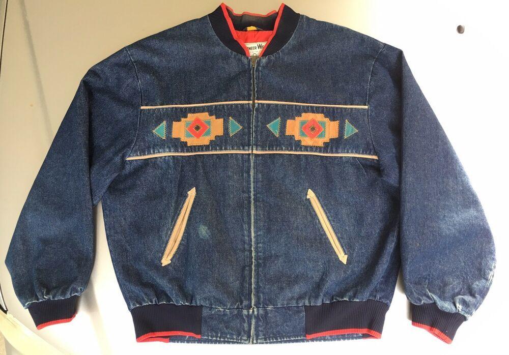 7bd7d5129 VTG Pioneer Wear Denim Jacket L Navajo Aztec Western Cowboy Leather ...
