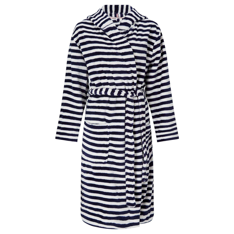 Joules Rita Stripe Fleece Dressing Gown, Navy | Dressing gown ...