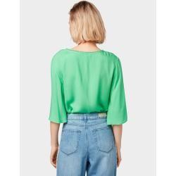 Photo of Tom Tailor Denim tunikebluse til kvinder med pom poms, grøn, almindelig, størrelse XL Tom TailorTom Tailor