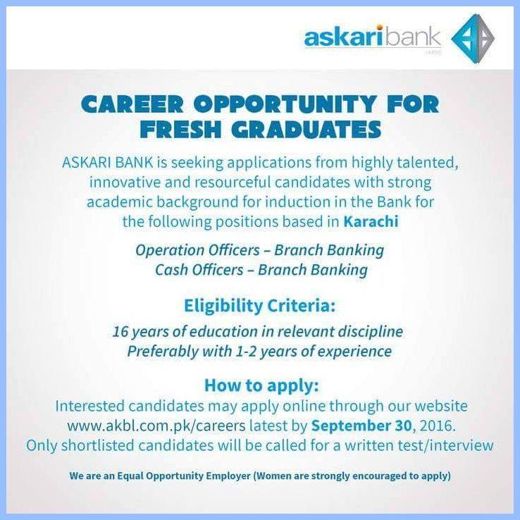 Jobs in Askari Bank Karachi Jobs Bank jobs, Jobs in
