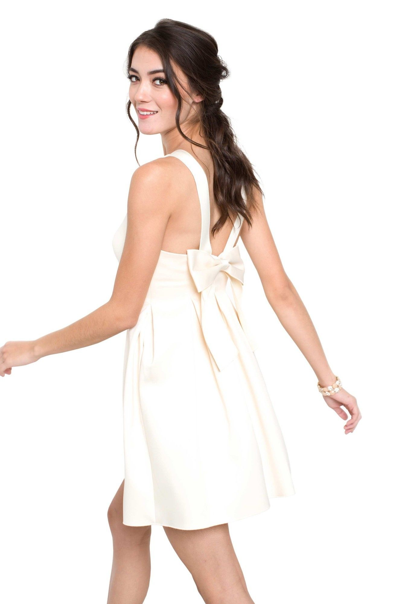 Cynthia Rowley Jenna Dress This Satin A Line Features Pleated Skirt Hidden Pockets And Low Back Bow Detail Is The Perfect Modern Take On