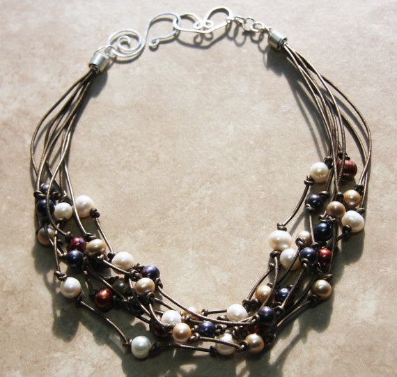 "Multistrand Leather and Pearl Necklace ""Sun, Sand and Sky'"