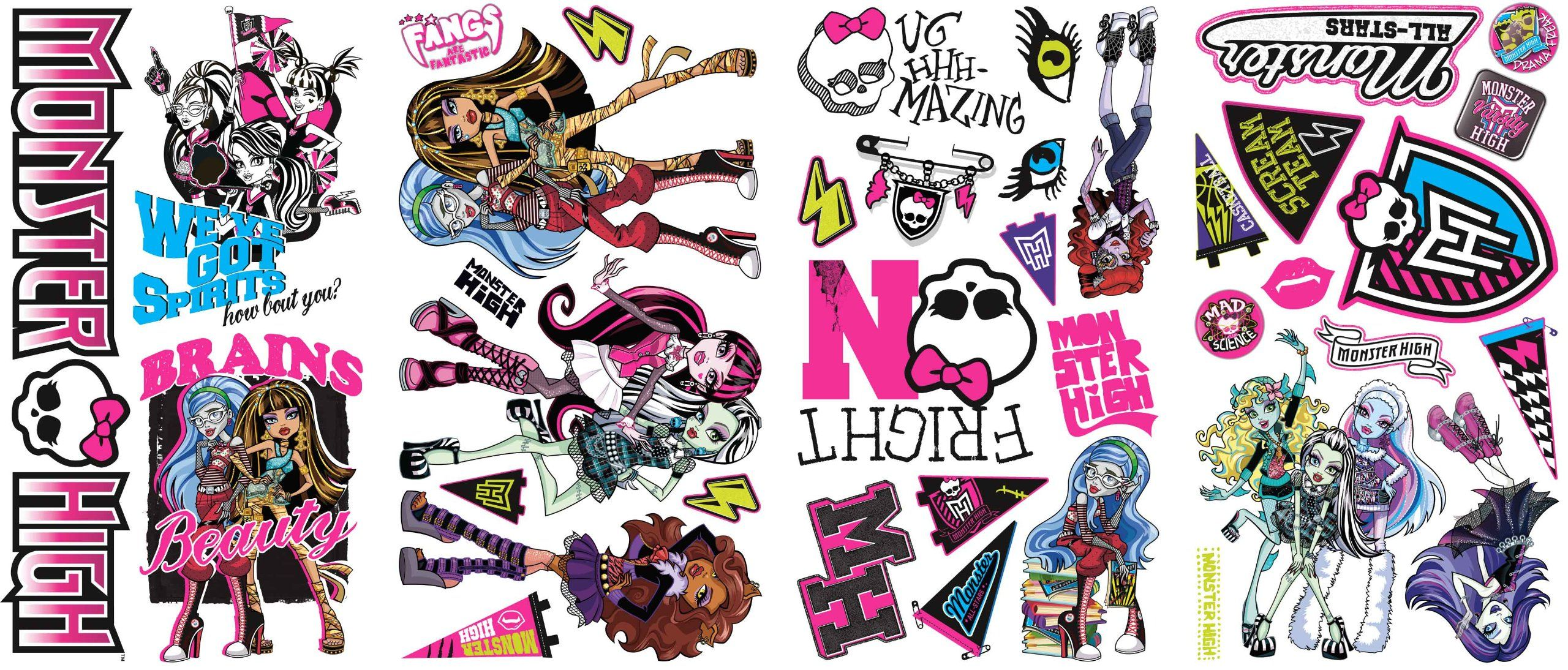 Roommates Rmk2190scs Monster High Peel And Stick Wall Decals Home