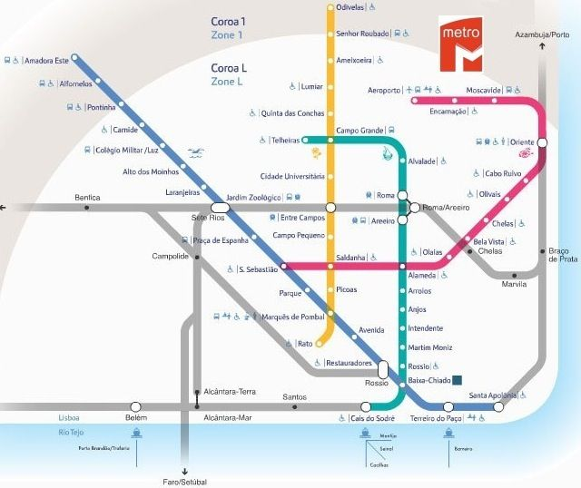 Lisbon Metro Map Map of Lisbon Metro, Portugal | Portugal, the man and his wife  Lisbon Metro Map