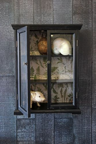 Baby Distressed Black Wall Cabinet With Botanical Lining Wall Cabinet Kitchen Wall Units Black Walls