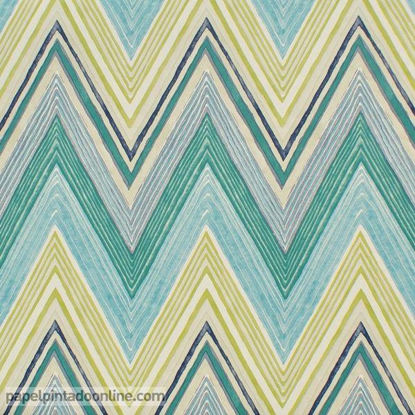 Papel pintado spirit soul 110853 papel con lineas en zic for Papel pintado turquesa y marron