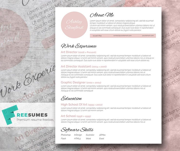 Touch Of Pink  A Beautiful Free Resume Template  Free Resume