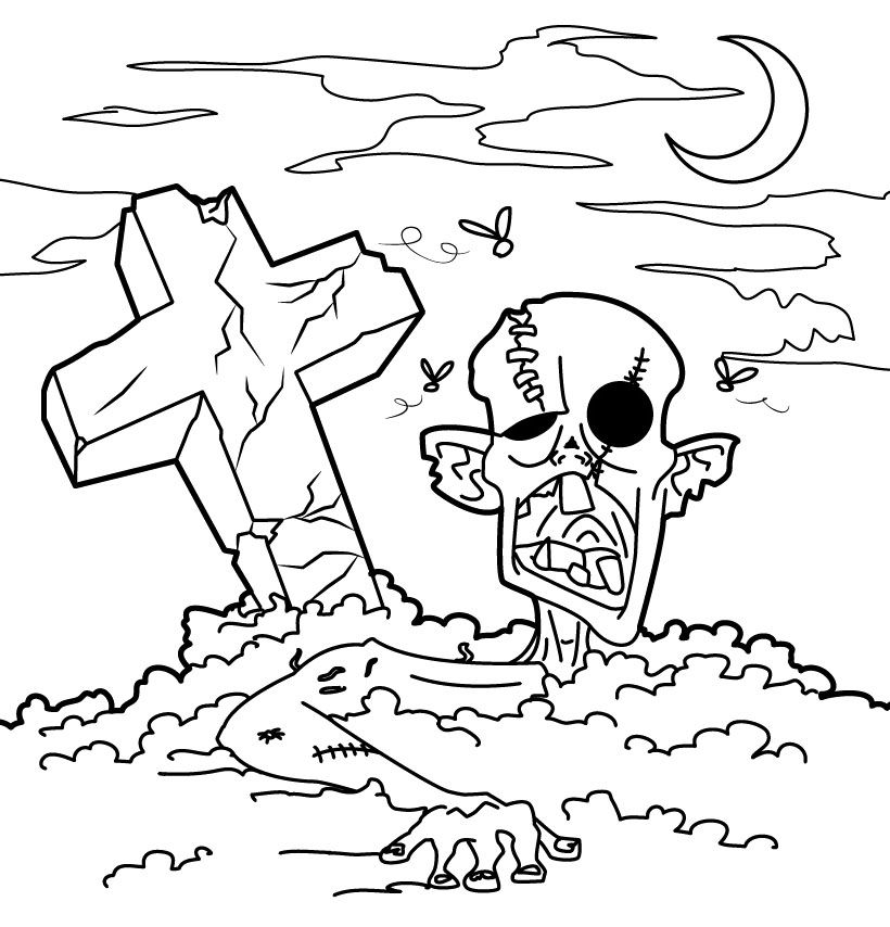 zombie graveyard coloring page