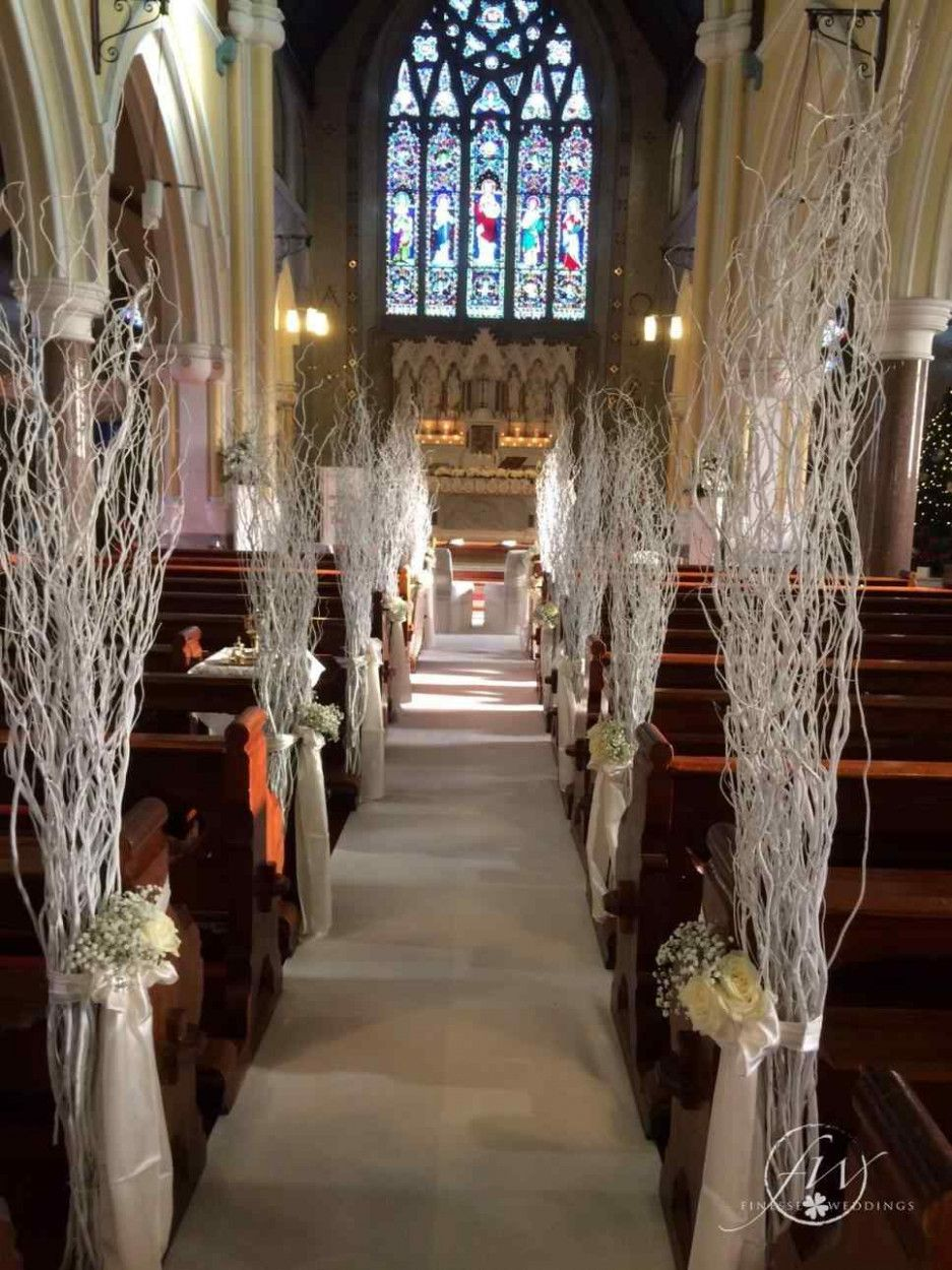 Winter Wedding Church Centerpiece Ideas Church Aisle