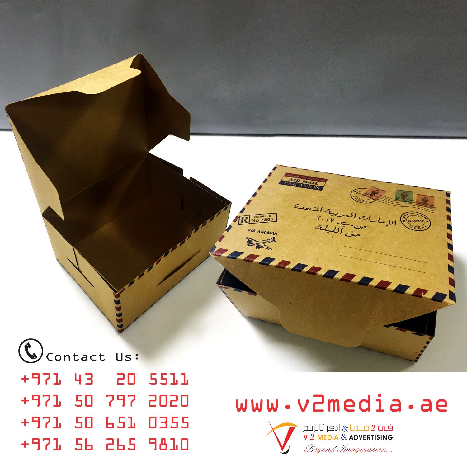 sample box packaging by v2 media services logos design