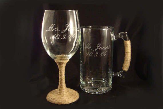 Etched Personalized Wine Glass And Mega Mug Custom Barware
