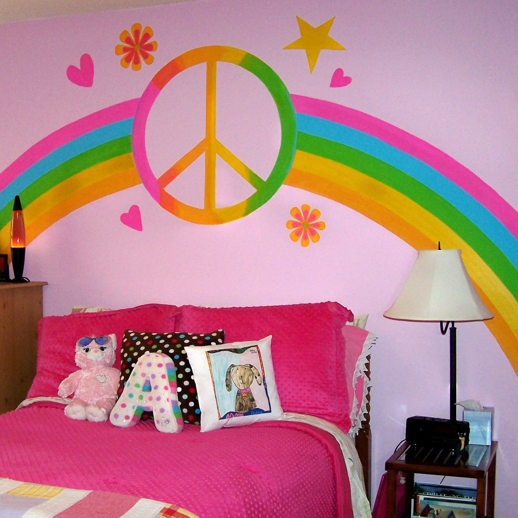 Plexi rainbow in this adorable rainbow-themed room. Photo and rainbow  created by