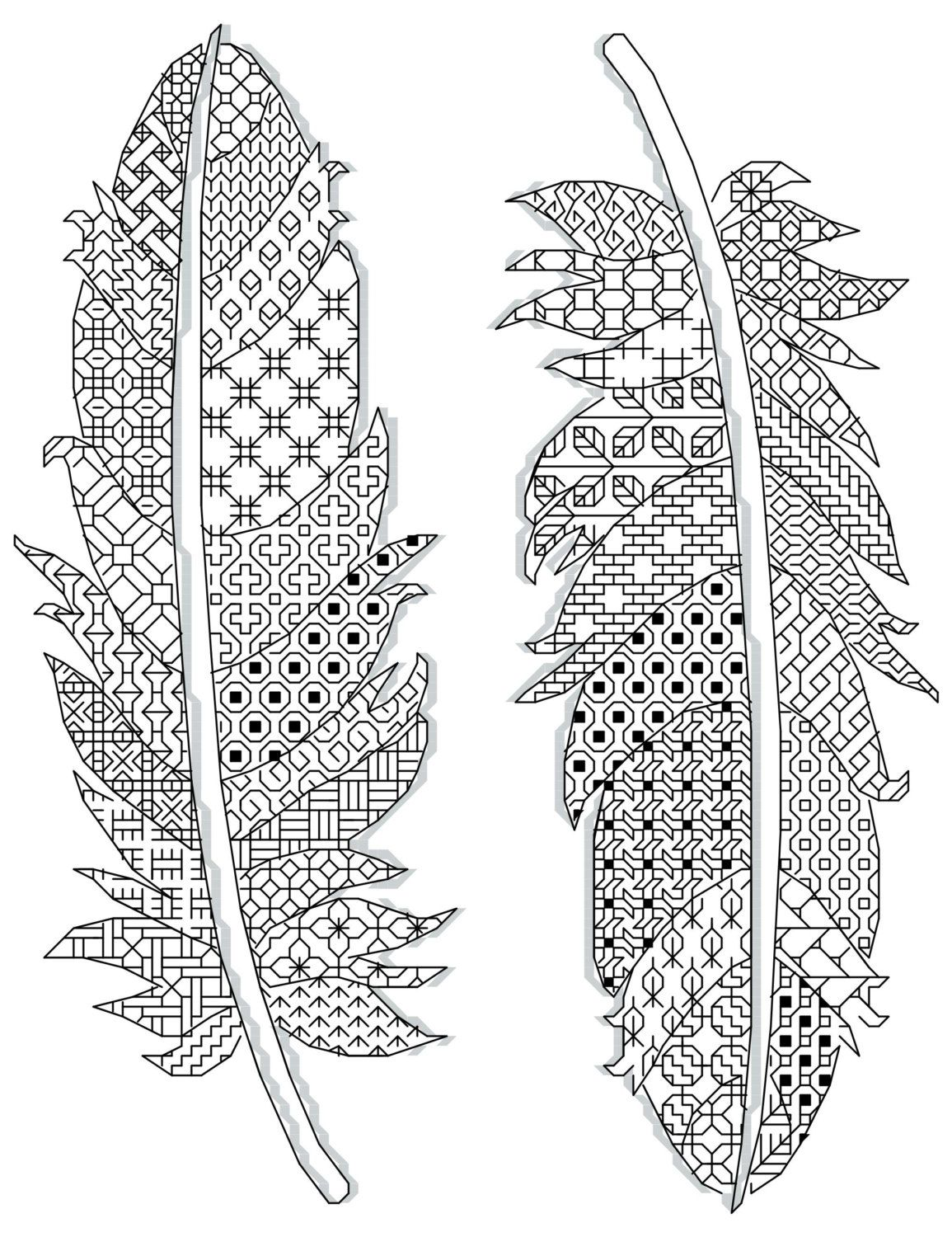 Cross Stitch Pattern Feathers Black Work Unicolor