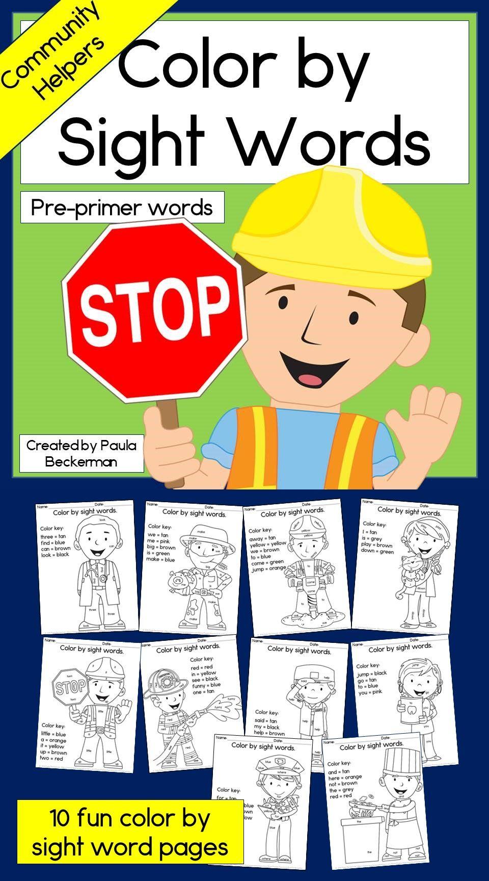 Community Helpers Color By Sight Words Reading Activity For Kindergarten Pre Primer Words Community Helpers Pre Primer Words Pre Primer Sight Words Worksheets [ 1728 x 960 Pixel ]