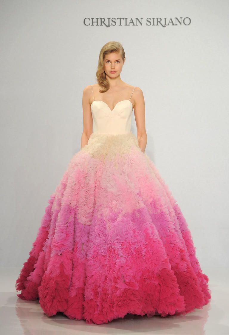 Christian siriano shows fanciful french inspired wedding for Pink ombre wedding dress