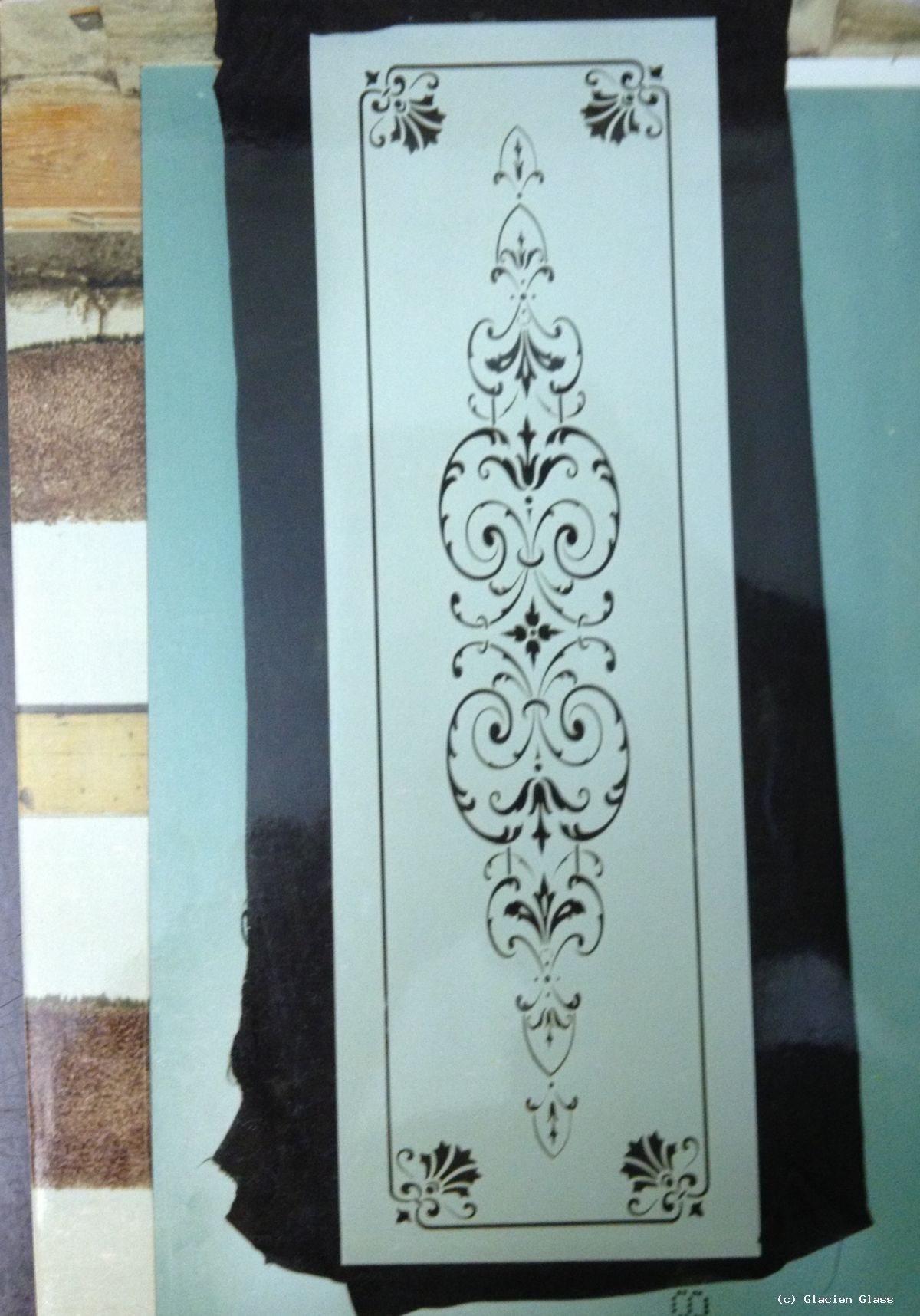 Sandblasted glass door panel on a clear glass background & Sandblasted glass door panel on a clear glass background ... pezcame.com