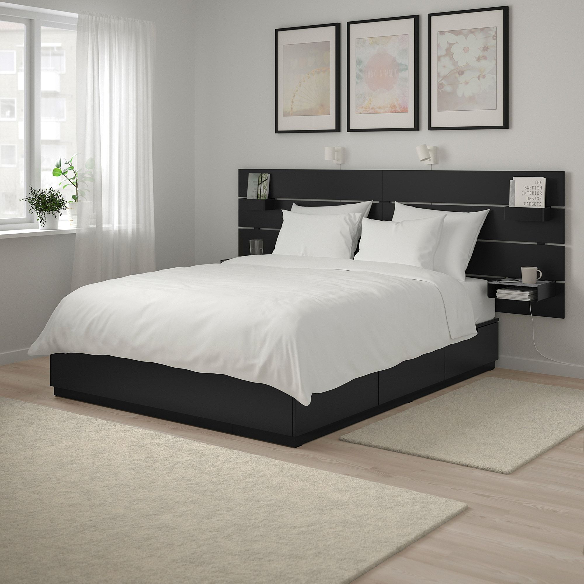 Ikea Möbel Nordli Ikea Nordli Anthracite Bed With Headboard And Storage In 2019