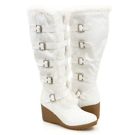 Winter White Boots | Buckled! Furry Wedge Winter Knee Boots Women ...