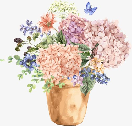 Vector Watercolor Flowerpot Flowers Creative Watercolor Flowers Plant Png Transparent Clipart Image And Psd File For Free Download Free Watercolor Flowers Flower Png Images Watercolor Flowers