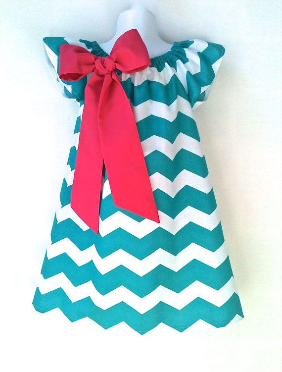 Girls Chevron Dress Easter Dress Peasant Dress Bright Teal Pink or Yellow Bow Made to Order Sizes 2T - 6 by 8th Day Studio, $34.00