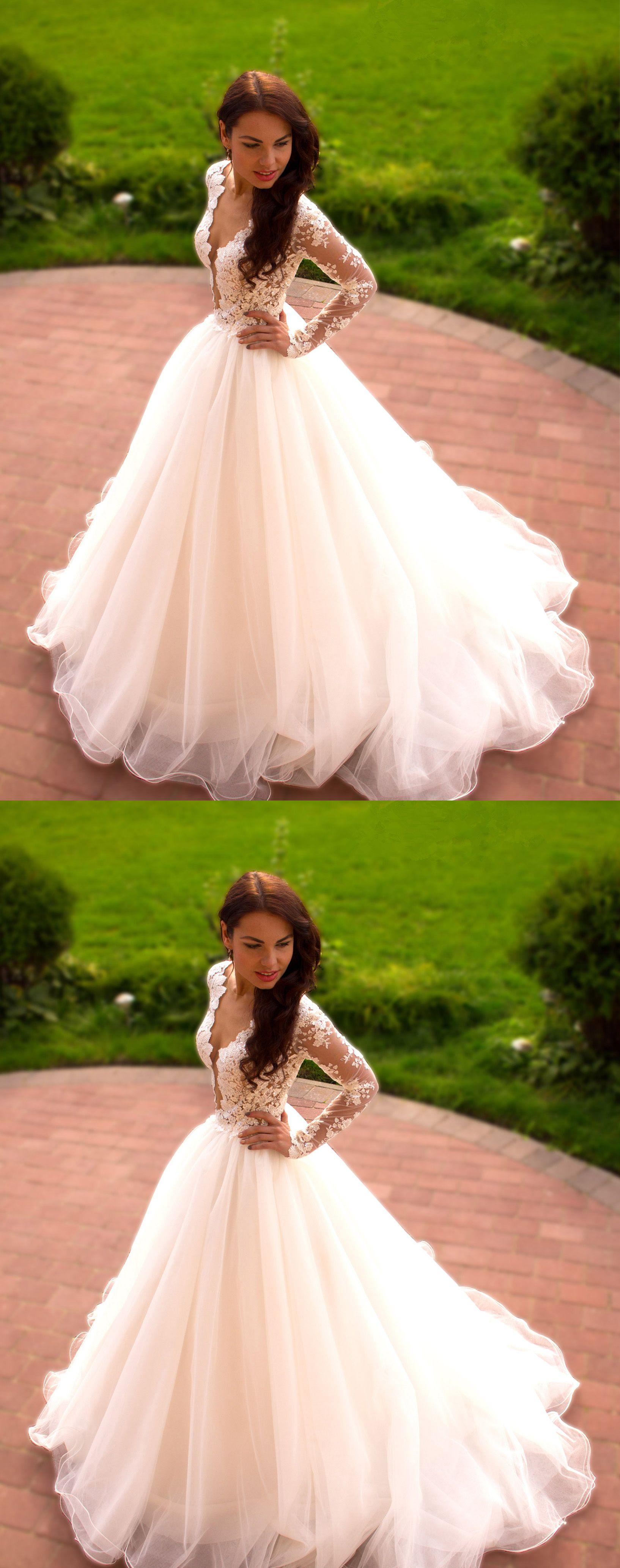 Romantic wedding dressaline wedding dressvneck wedding dress