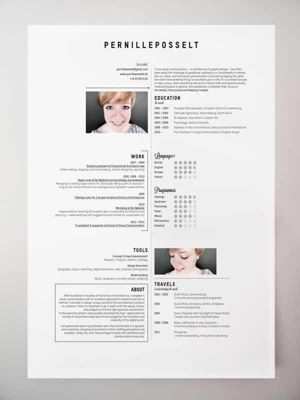 Resumé by P E R N I L L E P O S S E L T, via Behance CV - RESUME - personal resume website example