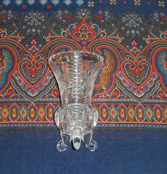 Vintage 1950s Bohemia Pinwheel Crystal 3 Footed Table Vasepinwheel