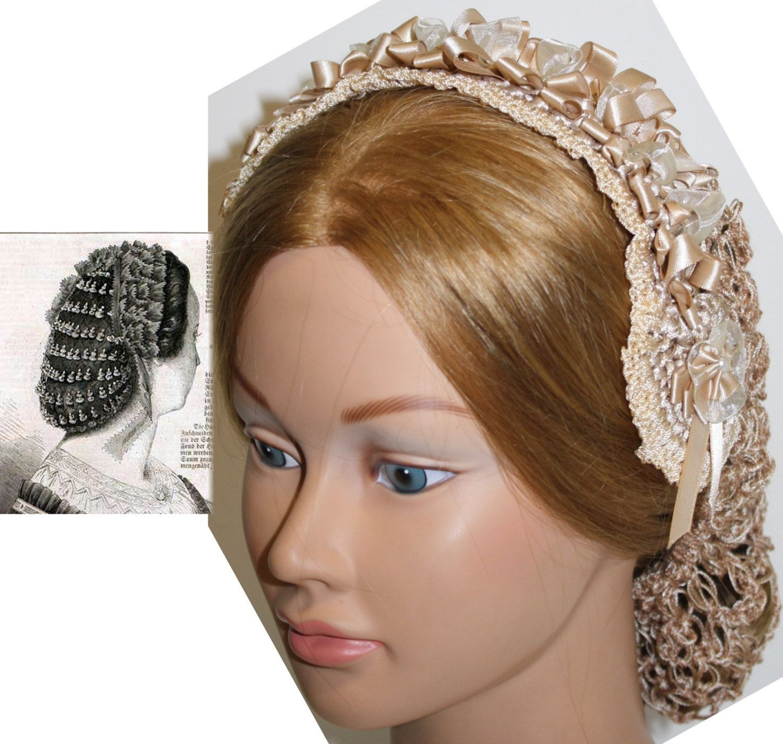 CIVIL WAR ECRU Victorian headdress hair net Hair snood 1860s