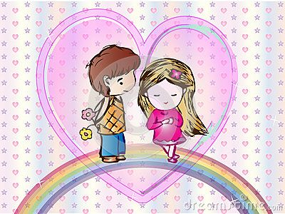 Cute Cartoon Wallpaper with a little boy and a little girl standing on a rainbow with hearts and stars background.