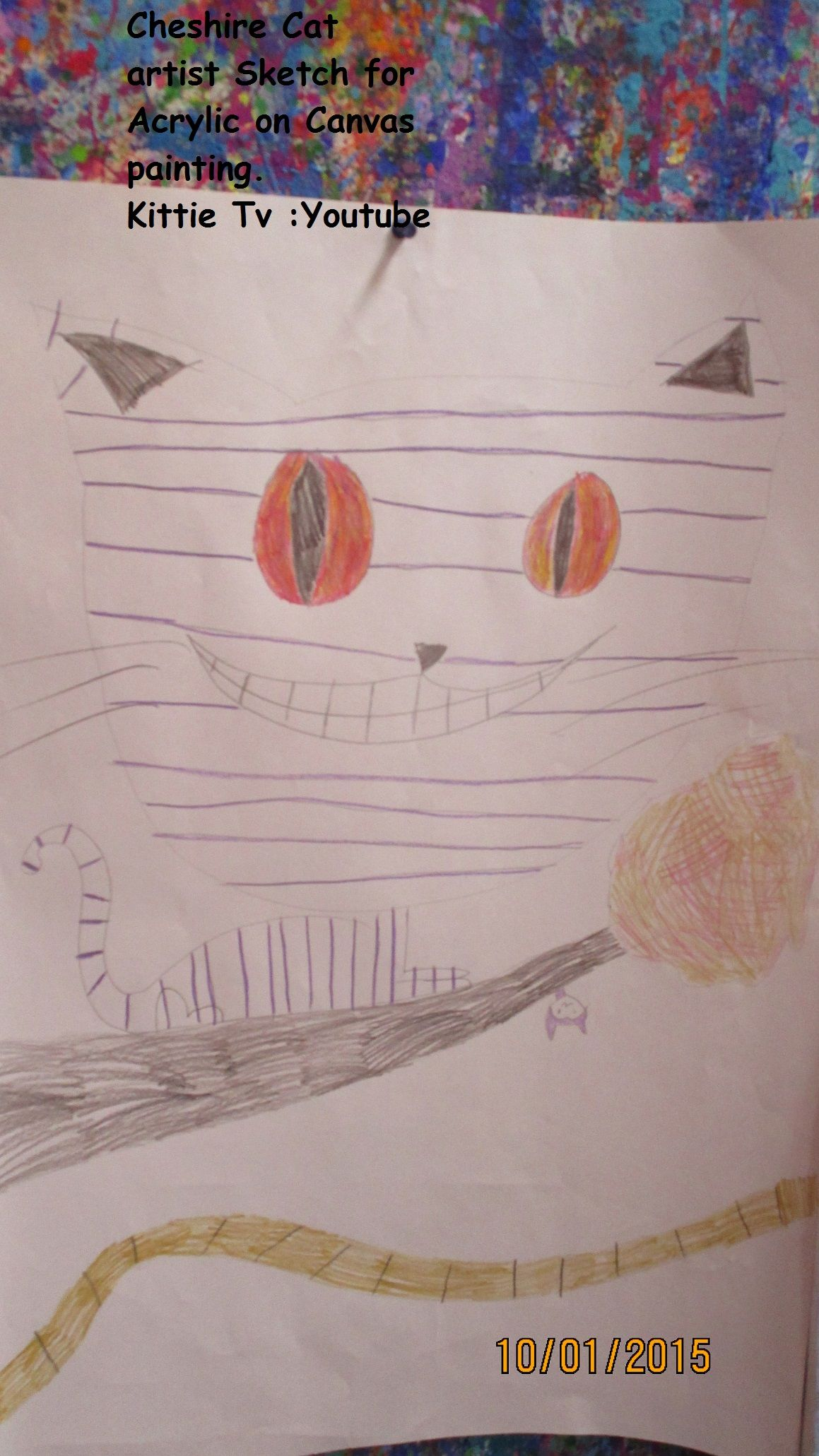 Cheshire Cat , this is a sketch to make into painting by Kittie Tv #aliceinwonderland