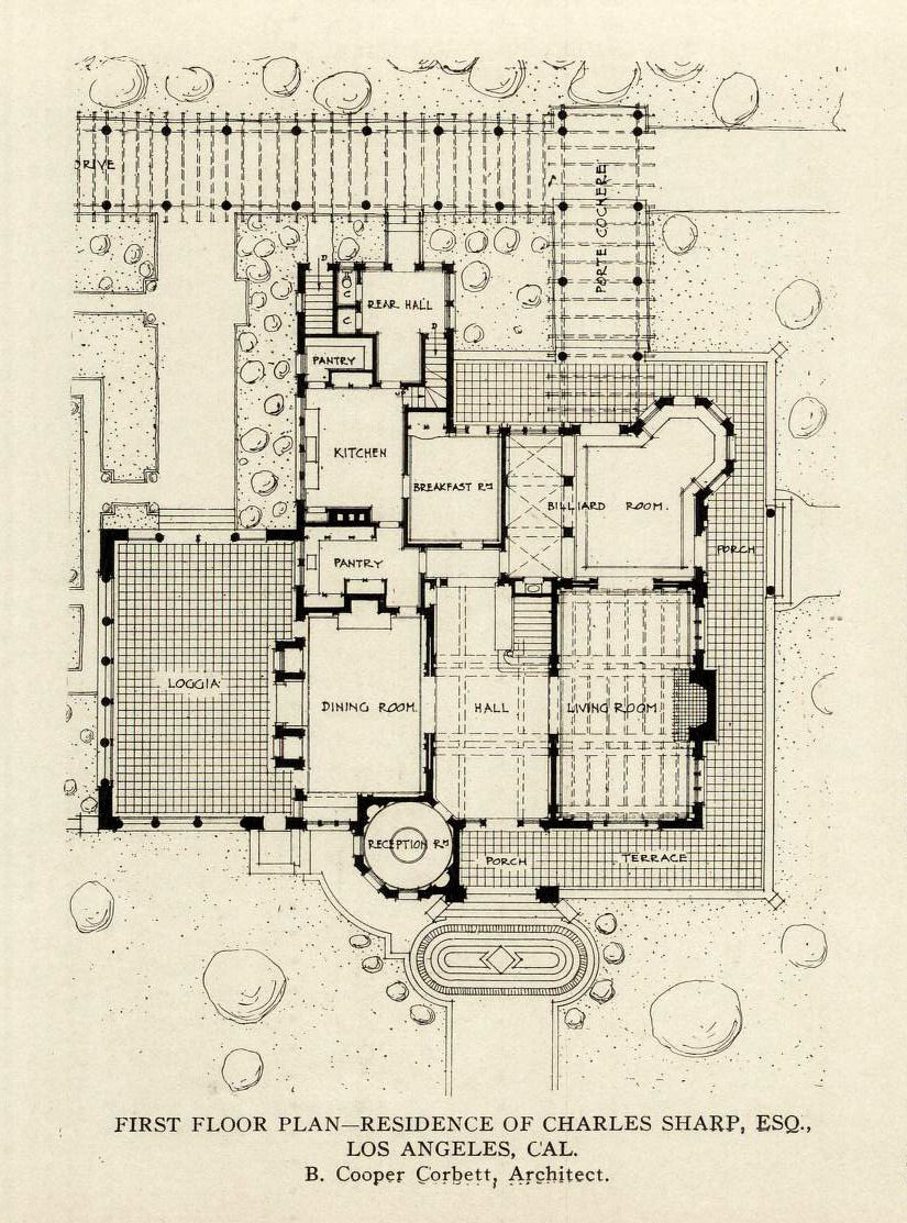 The First Floor Plan Of The Charles Sharp Esq Residence