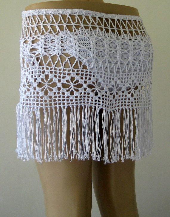 White Color crochet skirt, crochet cover up, women pareo, summer ...