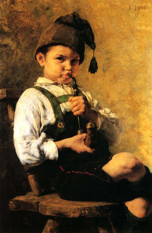 Tableaux sur toile, reproduction de Iakovidis, The Smoker, 75x50cm